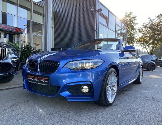 BMW 220i Cabrio M-Paket Aut., SHZ, LED, Navi, NL-37% bei CarPort || Meyer-Hafner in